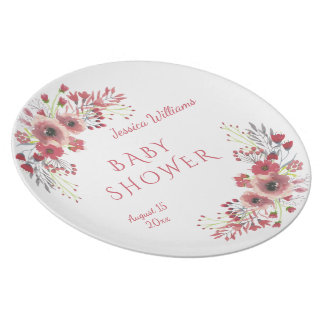 Chic Classy Red Floral Watercolor Baby Shower Plate