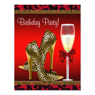 "Chic Cocktail High Heel Shoes Red Leopard Birthday 4.25"" X 5.5"" Invitation Card"