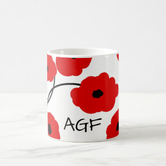 CHIC COFFEE MUG_MOD RED AND BLACK  POPPIES COFFEE MUG