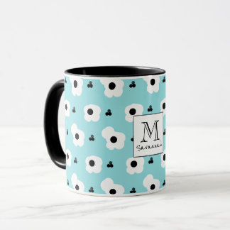 CHIC COFFEE MUG_MOD WHITE & BLACK FLORAL MUG