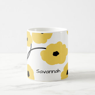 CHIC COFFEE MUG_MOD YELLOW AND BLACK  POPPIES COFFEE MUG