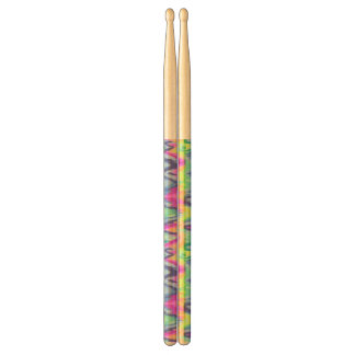 Chic Colorful Abstract Neon Chevron Pattern Drumsticks