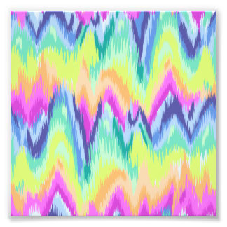 Chic Colorful Abstract Neon Chevron Pattern Photo Print