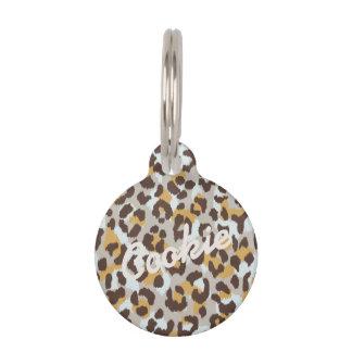Chic colorful brown gold cheetah print monogram pet ID tag