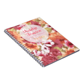 Chic Colorful Flower Pattern Watercolor Painting Notebook