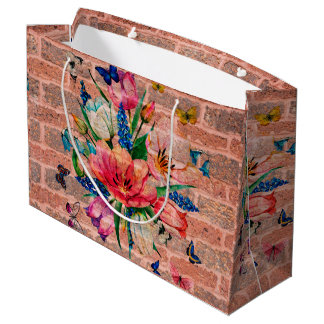 Chic Colorful Flowers On Brick Wall Large Gift Bag