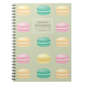 Chic Colorful French Macaron Pattern Green Notebook