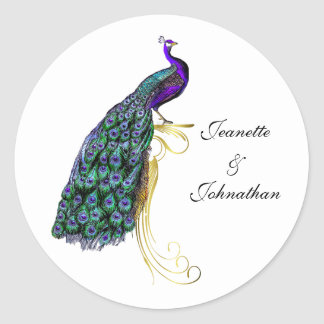 Chic Colorful Peacock Wedding Envelope Seal Round Sticker