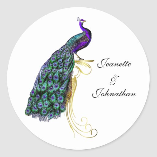Chic Colorful Peacock Wedding Envelope Seal Round Stickers