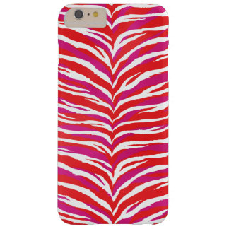 Chic colorful pink red white zebra print monogram barely there iPhone 6 plus case