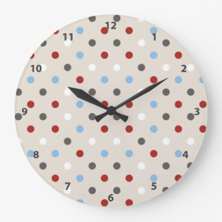 Chic Colorful Polka Dots Pattern Large Clock