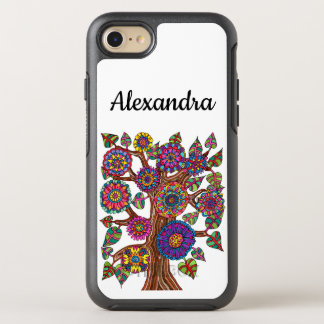 Chic Colorful Tree Drawing Flowers Monogram Name OtterBox Symmetry iPhone 8/7 Case