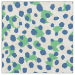 Chic colourful green blue cheetah print polka dots fabric