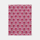 Chic colourful red and purple ikat tribal patterns fleece blanket