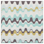Chic colourful teal brown abstract wave pattern fabric