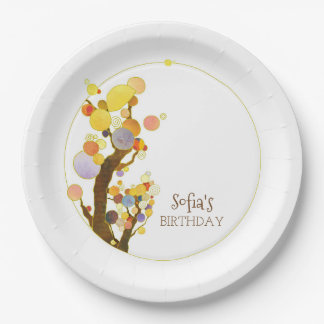 Chic Colourful Trees Birthday Party Paper Plate