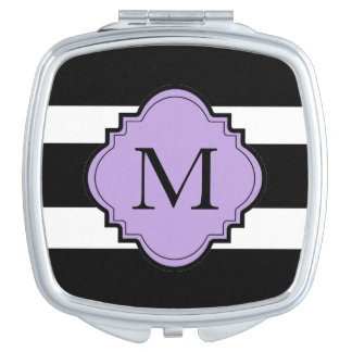 CHIC COMPACT_BOLD BLACK/WHITE STRIPES/LILAC VANITY MIRRORS