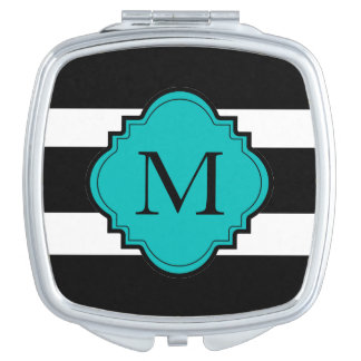 CHIC COMPACT_BOLD BLACK/WHITE STRIPES/TEAL CENTER TRAVEL MIRROR