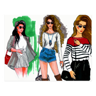 Chic cool fashion hand drawn illustration postcard