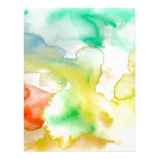 Chic Cool Teal Blue Red Yellow Abstract Watercolor Personalized Letterhead