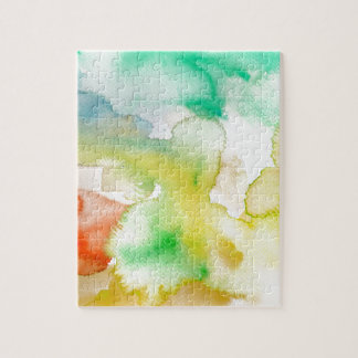 Chic Cool Teal Blue Red Yellow Abstract Watercolor Puzzle