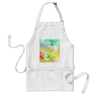 Chic Cool Teal Blue Red Yellow Abstract Watercolor Standard Apron
