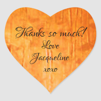 "Chic Copper Art ""Thanks so much!"" Heart Stickers"