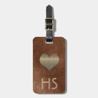 Chic Copper Look Gold Heart Add Initials Tag