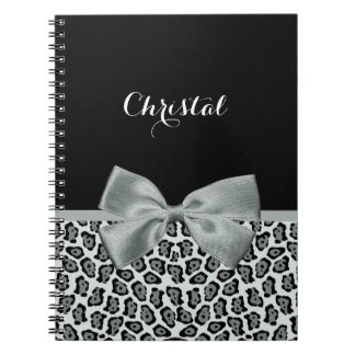 Chic Coral and Black Jaguar Print Light Red Bow Spiral Note Book