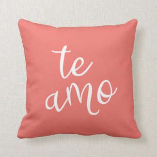 Chic Coral and White Spanish I Love You Te Amo Throw Pillow