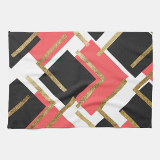 Chic Coral Pink Black and Gold Square Geometric Towel