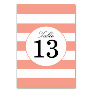 Chic Coral Stripes Table Number Card