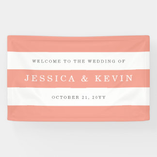 Chic Coral Stripes Wedding Banner