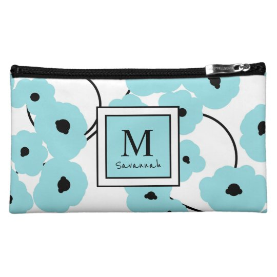 .CHIC COSMETIC BAG-MOD AQUA & BLACK POPPIES COSMETIC BAG