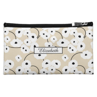 .CHIC COSMETIC BAG-MOD WHITE & BLACK POPPIES_DIY! COSMETIC BAG