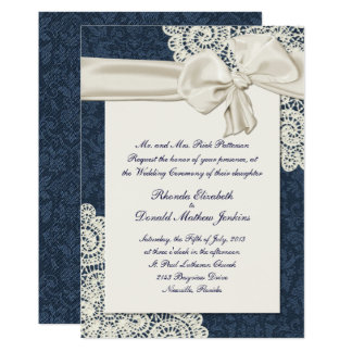 Chic Country Denim Damask & Ivory Lace Wedding Card