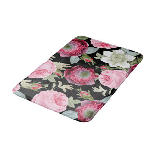 Chic Country Print Black Rose Floral Bath Mat