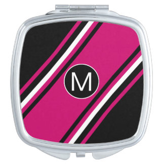 Chic cranberry pink black and white monogram compact mirror