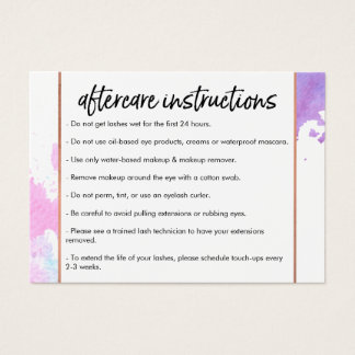 Chic Creative Watercolor Lash Salon Aftercare Card