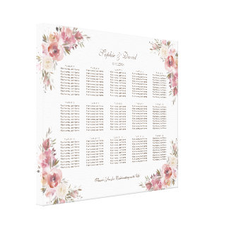 Chic Crest Peach Peonies Pink Seating Chart Canvas Print