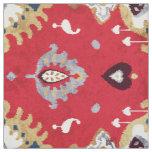 Chic crimson red yellow ikat tribal pattern fabric