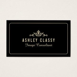 Chic Crown Logo Custom Dark Color Elegant Business Card