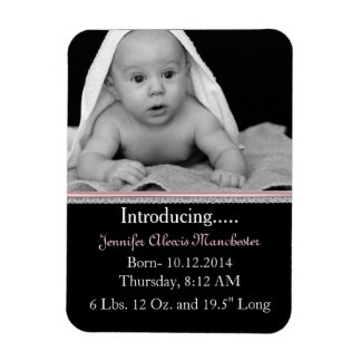 Chic Custom Baby Photo Birth Announcement Magnet