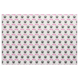 "CHIC CUSTOM FABRIC_PINK ""wOOF"" , BLACK PAW PRINT Fabric"