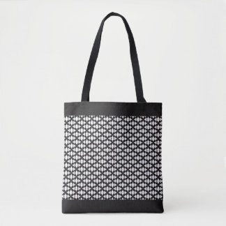 Chic Customizable White Criss Crosses Pattern Tote Bag