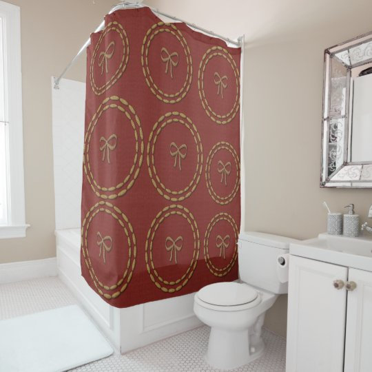 Chic Cute Gold Bow Pattern Red Shower Curtain