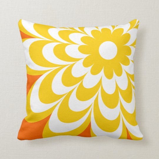 Chic Daisy Personalized Throw Pillow - Orange