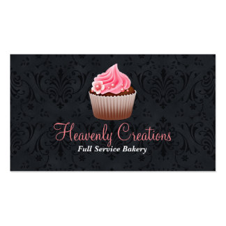 Chic Damask and Cupcake Bakery Business Card