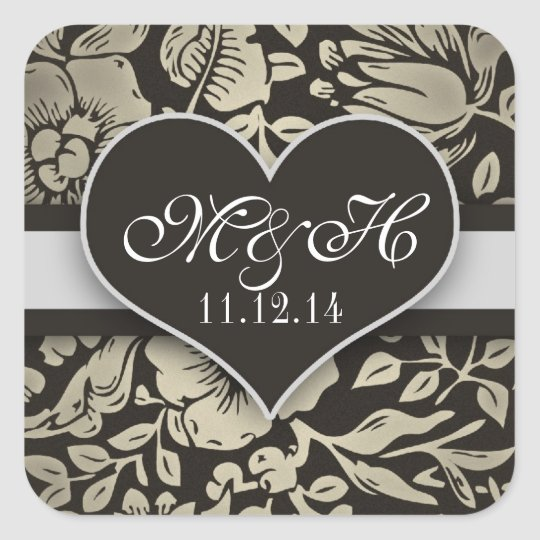 chic damask black love heart stickers