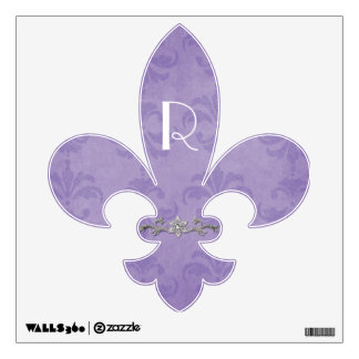 Chic Damask Monogram Fleur De Lis Wall Decal
